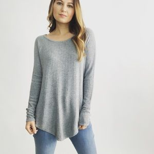 Chaser Gray Waffle Knit Top
